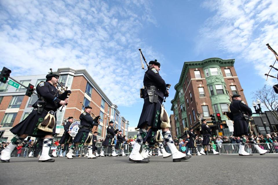 The Boston Police marching band performed.